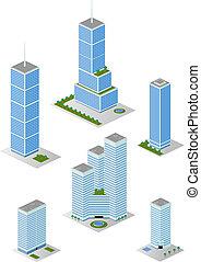 ciudad, isométrico, edificios de oficinas, 2, alto, paquete