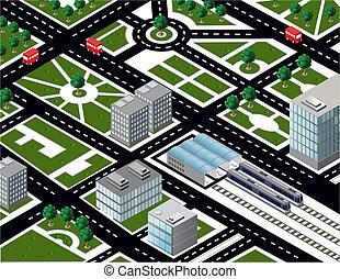 ciudad, isométrico