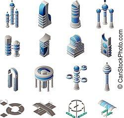 ciudad, isométrico, futuro, conjunto, iconos