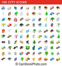 ciudad, isométrico, iconos, conjunto, estilo, 100, 3d