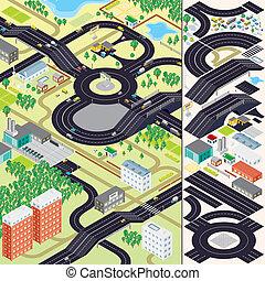 ciudad, isométrico, map., coches, casas, caminos
