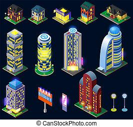 ciudad, isométrico, noche, iconos