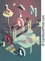 ciudad, isométrico, pos, vector, londres, 3d