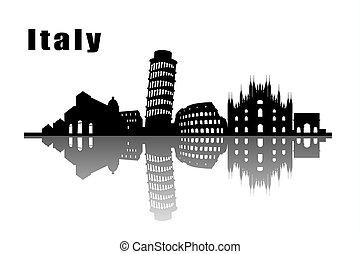 ciudad, italia, contorno