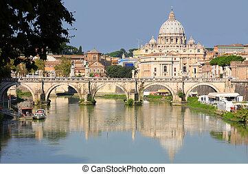 ciudad, italia, panorama, roma, vaticano, vista