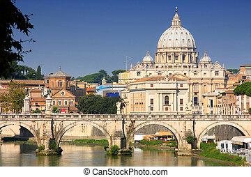 ciudad, italia, ponte, roma, umberto, vaticano
