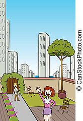 ciudad, jardín del tejado, vertical