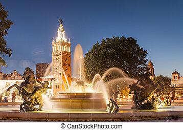 ciudad, kansas, club, país, plaza, fuente, misuri