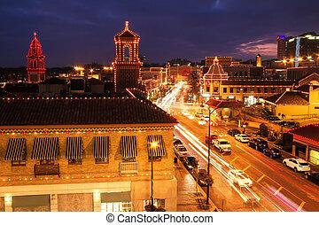 ciudad, kansas, club, país, plaza, luces, navidad