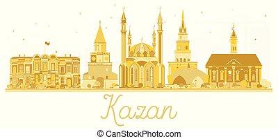 ciudad, kazan, dorado, silhouette., contorno, rusia