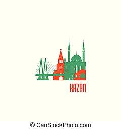ciudad, kazan, edificios., colorido, emblem.