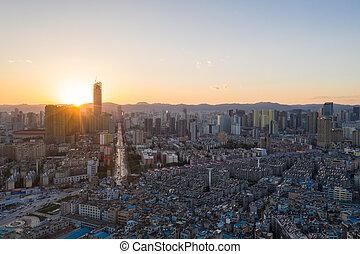 ciudad, kunming, ocaso