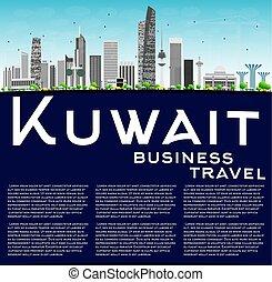 ciudad kuwait, contorno, con, gris, edificios, y, copia, space.