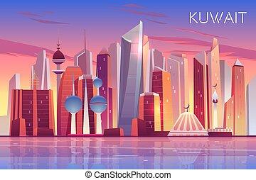 ciudad, kuwait, moderno, árabe, estado, cityscape, skyline.
