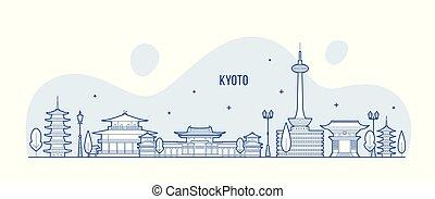 ciudad, kyoto, contorno, vector, japón, tamil nadu