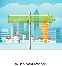 ciudad, la derecha de la dirección, cityscape, illustration...