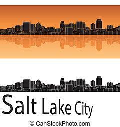 ciudad, lago, contorno, plano de fondo, naranja, sal