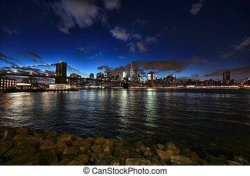 ciudad, lapso, noche, a través de, york, tiempo, nuevo, río,...