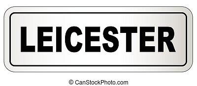 ciudad, letrero nombre, leicester