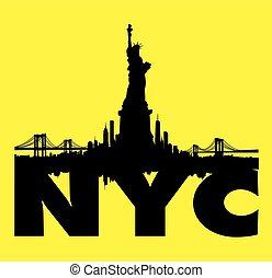 ciudad, libertad, contorno, vector, amarillo, estatua, nueva...