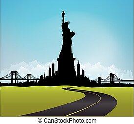 ciudad, libertad, contorno, vector, verde, york, estatua,...