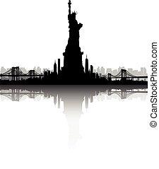 ciudad, libertad, contorno, vector, york, estatua, nuevo