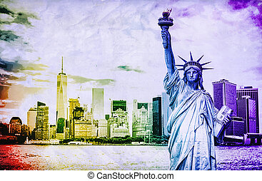 ciudad, libertad, york, estatua, cityscape, nuevo