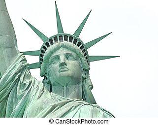 ciudad, libertad, york, estatua, nuevo