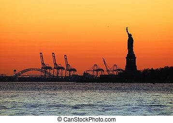 ciudad, libertad, york, estatua, nuevo, manhattan