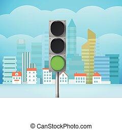 ciudad, light., ilustración, trafic, tráfico, cityscape