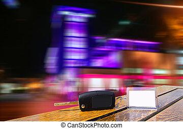 ciudad, llaves, coche, luces, madera, tabla de la noche, alquiler