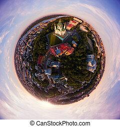 ciudad, lleno, aéreo, bajada, ciudad, kiev., panorama, s., ...