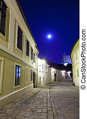 ciudad, lleno, viejo, luna, abandonado, calle, europeo