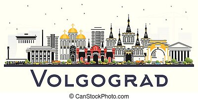 ciudad, los edificios colorean, aislado, contorno, white.,...