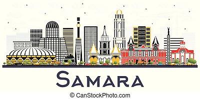 ciudad, los edificios colorean, aislado, samara, contorno,...