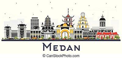ciudad, los edificios colorean, indonesia, aislado, contorno...