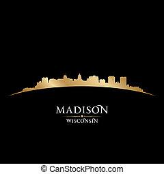 ciudad, madison, silueta, fondo negro, wisconsin