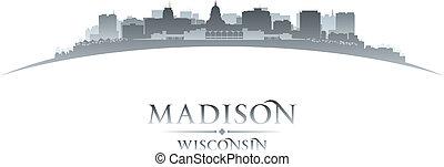 ciudad, madison, silueta, plano de fondo, wisconsin, blanco