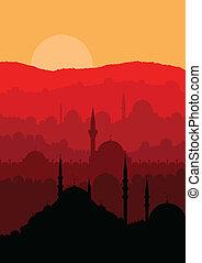 ciudad, magia, estambul, turco, vector, paisaje