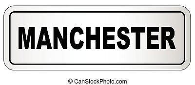 ciudad, manchester, letrero nombre