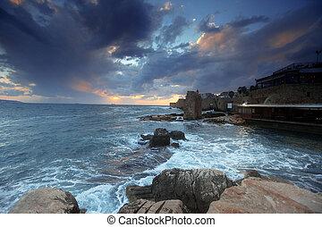ciudad, mediterráneo, galilee, puesta de sol, acre, ...