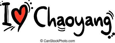 ciudad, mensaje, amor, china, chaoyang