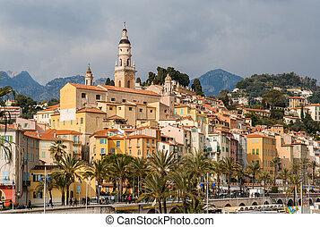 ciudad, menton, -, riviera, francia, francés, vista