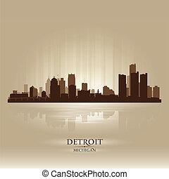 ciudad, michigan, silueta, contorno, detroit