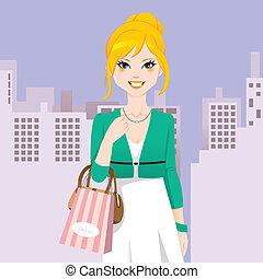 ciudad, moda, mujer