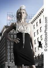 ciudad, modelo, moda