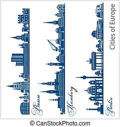 ciudad, moderno, architecture., berlin., -, illustration., ...