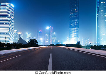 ciudad, moderno, camino de asfalto