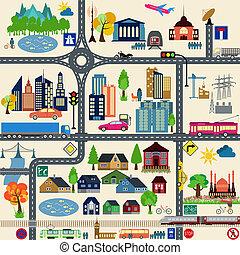 ciudad, moderno, elementos, mapa