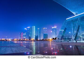 ciudad, moderno, escenas, chino, noche